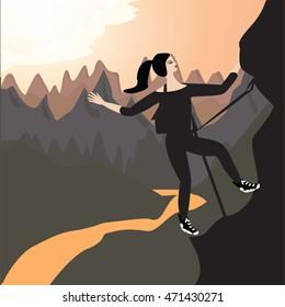 climber woman mountain landscape sunrise abstract art creative modern   illustration bitmap image