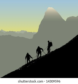 Climbers ascending a ridge at sunrise in the alps. Also available as vector.
