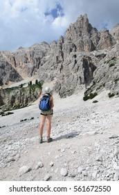 Climbers challenge, Dolomites, Italy