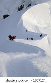 Climbers. Climb to Mt. Blanc (4810m)