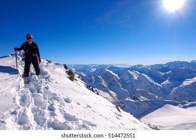 climbers climbing in Alps / Stubai Austria