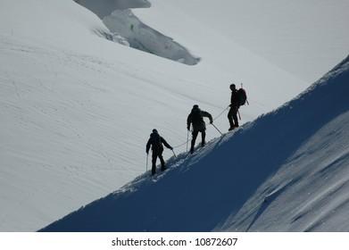 Climbers on Mt Blanc, France