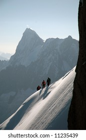 Climbers on ridge in French Alps