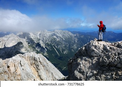 Climbers on Triglav Peak, Slovenia, Europe