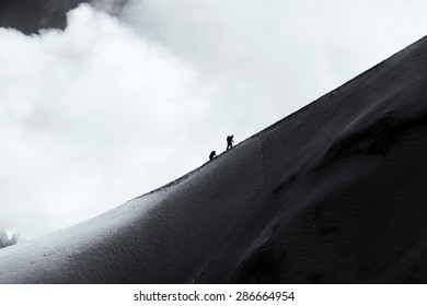 Climbers walk down on glacier in the mountain in Chamonix, France