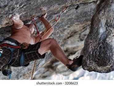 climbing 5.11c limestone rock Thailand