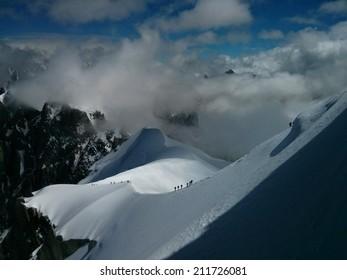 Climbing at Aiguille du Midi