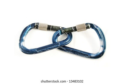 Climbing carabiner isolated over white