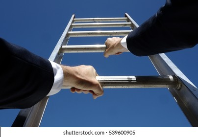 Climbing the corporate ladder business concept