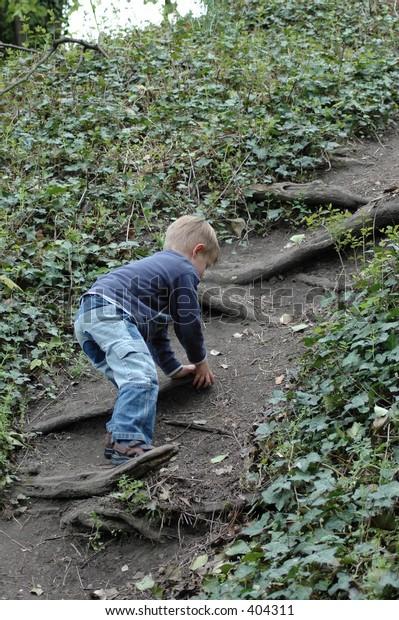 climbing dirt path