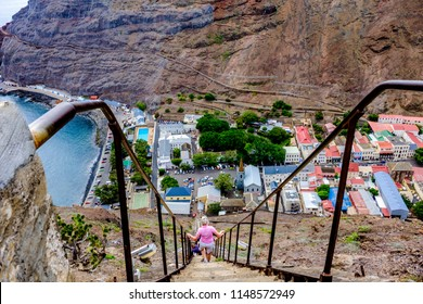 Climbing down 699 steps of Jacobs ladder to Jamestown, the main town of remote Saint Helena Island