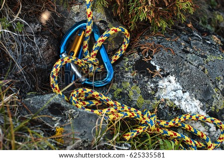Climbing Equipment Carbine Rope Knot Stock Photo (Edit Now