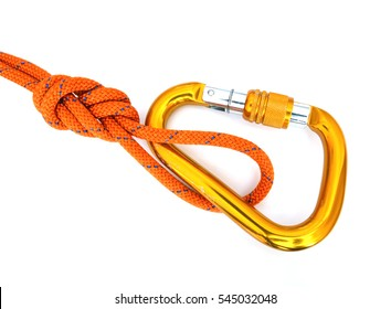Climbing equipment - detail carabine with a few scratches and knot