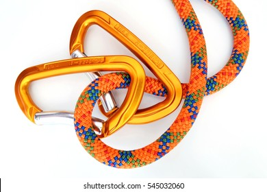 Climbing equipment - detail carabiners and rope