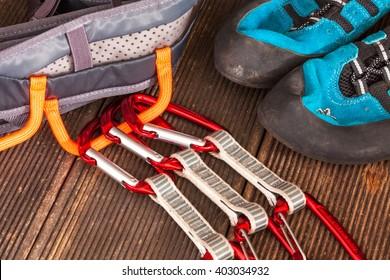 climbing equipment on a wooden ground