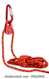 Climbing equipment - pulley, rope, carabiner. Isolated on a white.