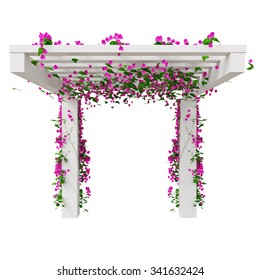 Climbing flowers on pergola. 3D graphic isolated object on white background