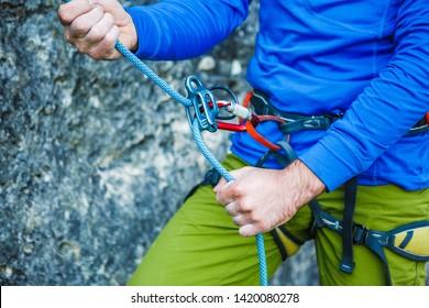 Climbing gear and equipment closeup