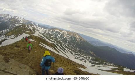 Climbing the mountain Pip Ivan in the Carpathians, Ukraine