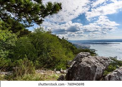 Climbing on the karst crag