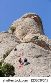 Climbing on Montserrat, Barcelona, Spain.