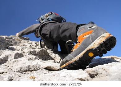 Climbing on the rocks