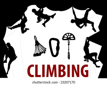 Climbing People silhouettes