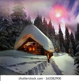 Climbing to tourist wild alpine mountain to an abandoned cabin-in order to illuminate the snow-covered spruce canopy during moonrise, moonset, to see the first star of Christmas in the Carpathians