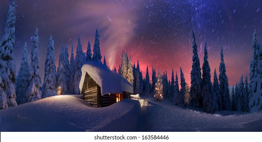 Climbing to tourist wild alpine mountain to an abandoned cabin-in order to illuminate the snow-covered spruce canopy during moonrise, moonset, to see the first star of Christmas in the Carpathians..