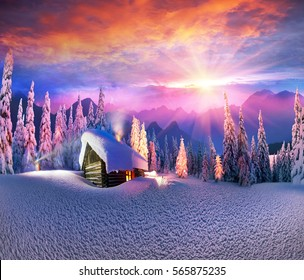 Climbing to tourist wild alpine mountain to an abandoned cabin-in order to illuminate the snow-covered spruce canopy during moonrise, moonset, to see the first star of Christmas in the Carpathians.