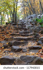 Climbing trail with stone steps in Baraboo, WI