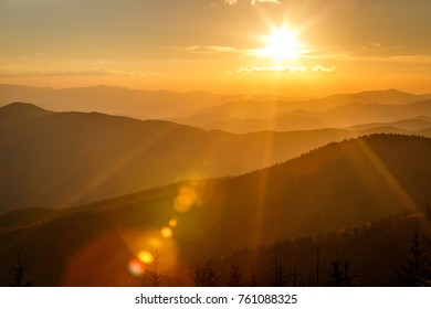 Clingmans Dome Sunset - Great Smoky Mountains National Park with Sunburst