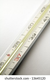 clinical thermometer detail, high temperature, grey background