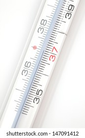 A clinical thermometer showing a healthy body temperature of 37 degrees Celsius.