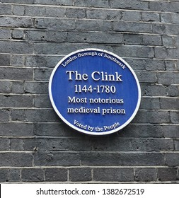 The Clink Prison Blue plaque, London, UK, 2019.  The Clink prison is a tourist attraction in London and is the home of the most notorious medieval prison.  It is based in the borough Southwark, London
