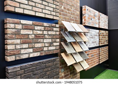 Clinker brick panels and steps in showroom in store