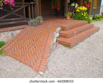 Clinker wheelchair ramp and stairs.