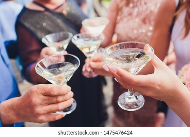 Clinking glasses with alcohol and toasting, party. Congratulations to the event. Cheerful party friends.