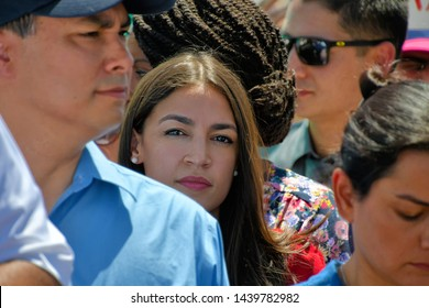 Clint, Texas / USA - 1 July 2019 Clint Border Patrol Station Alexandria Ocasio-Cortez lashes out over deplorable  conditions following border facility tours. Women were told to drink out of toilets.