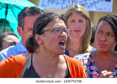 "Clint, Texas / USA - 1 July 2019 Clint Border Patrol Station Rep. Rashida Tlaib to Border Center Protesters: ""We Are Putting America First,"" ""I Will Outlove Your Hate"" Gave passionate speech"
