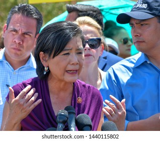 """Clint, Texas / USA - 1 July 2019 Clint Border Patrol Station Democrat Representative Judy Chu Described a """"broken"""" and """"horrifying"""" system of immigration detention at the nation's southern border"""