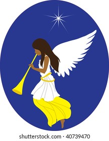 clip art illustration of an african american christmas angel sounding a trumpet.