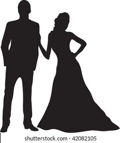 Clip art illustration of aman and woman standing together.