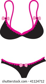 Clip art illustration of a black bra and a matching pair of panties.