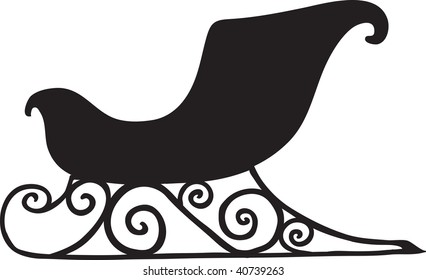 clip art illustration of a black silhouette of a christmas sleigh.