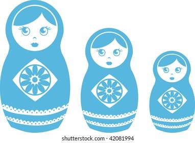 Clip art illustration of blue matryoshka dolls.
