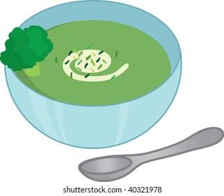 Clip art illustration of broccoli soup.