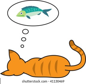 Clip art illustration of a cat dreaming of a fish.