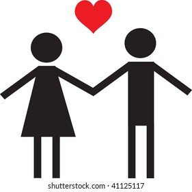 Clip art illustration of a couple holding hands.