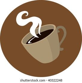 Clip art illustration of a cup of coffee.